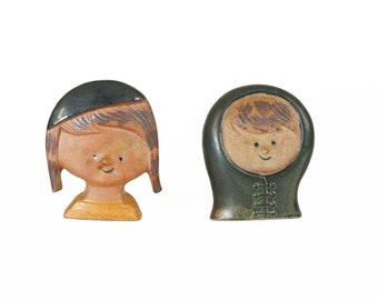 Mid Century Ceramic Face Candle Holder Candle Stick Japan Made
