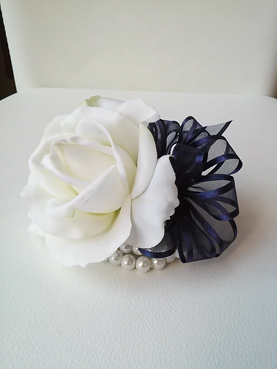 Ready To Ship White And Navy Wrist Corsage White Rose