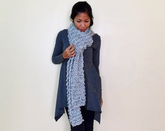 GRAY chunky knit scarf, extra long scarf, hand knit gray scarf, ready to ship