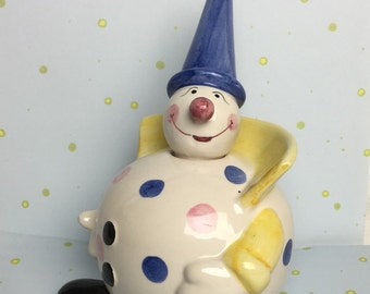 Ceramic Clown Coin Bank made in Portugal Polka Dot Pointed Blue Hat