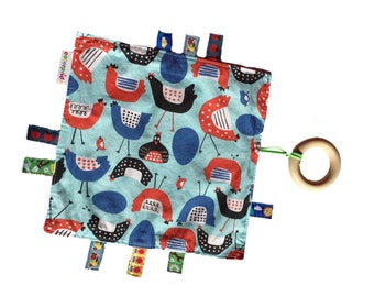 organic sensory blanket, organic baby toy, baby gift bird, baby sensory toy, ribbon blanket, organic crinkle toy, organic teething ring,
