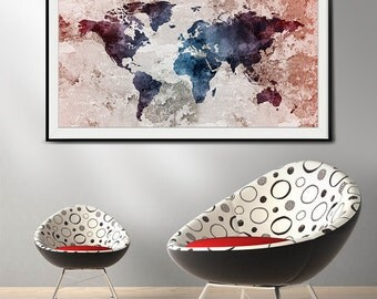 Worldmap art print, old water color world map wall art, Art, large art print, extra large wall art, world map art print (L39)