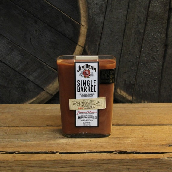 Jim Beam Single Barrel Candle Recycled Bourbon Bottle Essential Oil Soy Candle 750ml Recycled Whiskey Bottle 18 oz Soy Wax Bourbon Gift