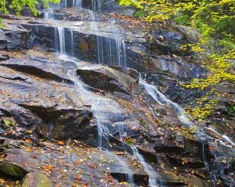 Vertical waterfall photograph of Secret Falls, Adirondacks.  Printed on canvas.