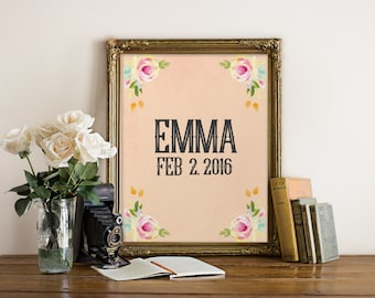 Personalized Name Wall Art personalized printable baby girl gift baby girl name sign