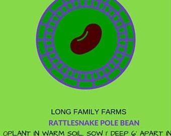 Heirloom  Vegetable Seed Rattlesnake Pole Bean