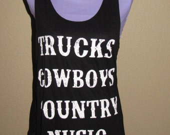 Plus Size Tank Top-Trucks,Cowboys,Country Music-Black