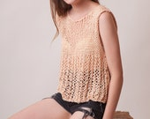 Knitted boho blouse, loose knit top, women summer clothes, sleeveless peach top, cotton knit t-shirt, handknit gift for her, soft swing tank