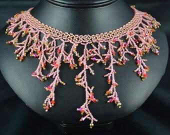 Handmade Pink Fringe  Necklace, Swarovski Crystals, Seed Beads