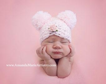 Baby Girl Pom Pom Hat... Newborn Baby Girl... Crochet flower Hat...  Girl baby Photography Prop ....PINK  infant hat girl hats