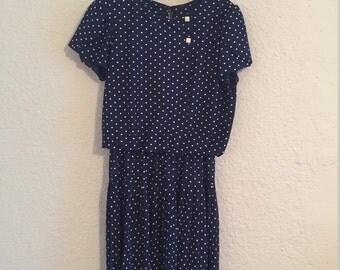 Vintage Blue and White Polka-dot dress