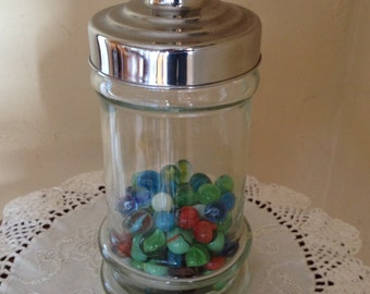Vintage Marble collection and Apothecary Jar- 85 marbles.