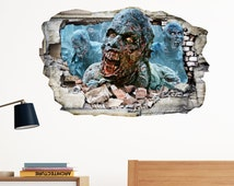 Walking Dead Zombies  in Wall Crack Horror Scary Kids Adults Boys Bedroom Vinyl Decal Art Sticker Gift New Large Size 300x199mm