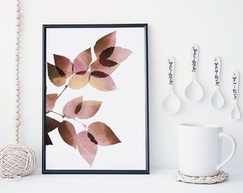 Leaf art print, botanical wall art, watercolor leaf art, nature poster, minimal & simple wall art, home decor, gift, nursery decor