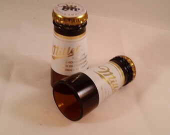 Miller Lite shot glasses made from the necks of beer bottles! Hand cut and polished Set of 2!