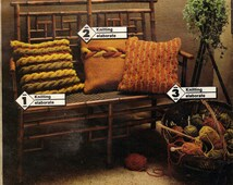 """Instant PDF Download Vintage Row by Row Knitting Pattern to make 3 Aran Inspired Chunky Cable Textured Cushion or Pillow Covers 20"""" Square"""