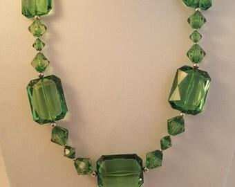 Chunky Necklace - Green Necklace - Green Chunky Necklace - Long Green Necklace - Long Necklace - Women's Necklace - Green Acrylic Necklace