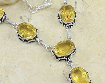 """Antique Style Yellow Citrine Sterling Silver Necklace 19"""" Princess Style"""