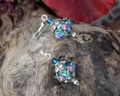 Murano Glass Earrings, Blue Silver Drop Earrings (E93)