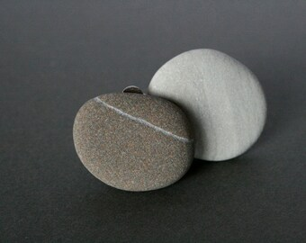 Statement Clip On Earrings - Mismatched - Asymmetrical - Beach Stone