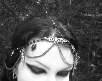 Danse Macabre Circlet / Gothic Circlet Dark Fantasy Headdress / Goth Tribal Fusion Bellydance Pagan Wiccan
