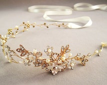 Floral hair vine, wedding headband, bridal headpiece, Wedding halo, Pearl  rhinestone headband, Ribbon, Gold , Silver Nature inspired A