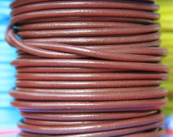 SALE!!! MADE in SPAIN 1 yard 4mm round leather cord, 4mm marron leather cord, 4mm brown leather cord   (4MAR)