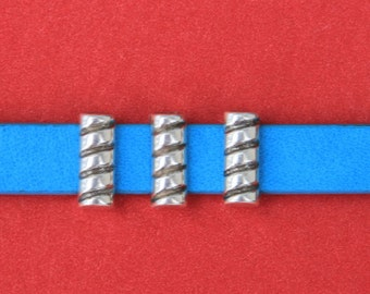 3/1 MADE IN EUROPE 4 zamak sliders , flat cord sliders, 10mm leather cord sliders (6472/10)Qty4