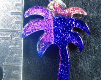 Palm Tree Fused Dichroic Glass Pendant