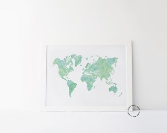 Mint World Map Print, Watercolor, Poster, Green, Travel Quote, World Map Quote, Home Decor, Affiche Scandinave, Wall Decor, Adventure