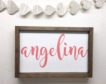 Framed Custom Name Wood Sign - Wooden Sign with Name - Framed Wooden Name Sign Kids Bedroom - Kids Room Wall Decor - Nursery Wall Hanging
