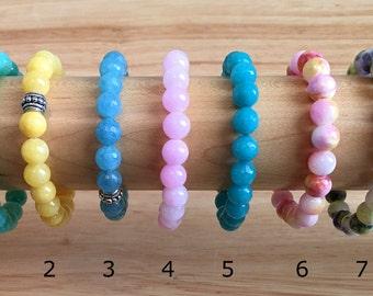 Candy Jade 8mm Beaded Bracelet   Stackable Bracelets   Mix & Match