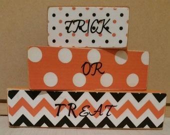 Trick or treat wooden blocks set of 3 Halloween decor, shelf sitters, home decor, party favors, centerpiece, fall festivities, gift,
