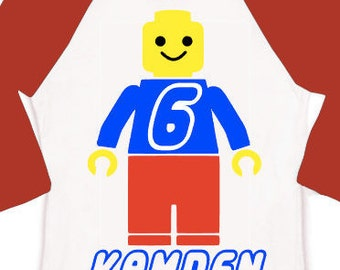custom personalized boys birthday raglan shirt lego man vinyl