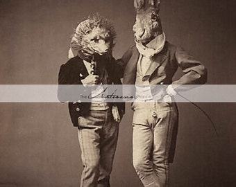 Fox and Hare Rabbit Antique Vintage Halloween Costumes Photograph - Instant Art Printable Download - Altered Art Scrapbook Paper Crafts