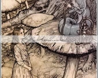 Instant Printable Download - Alice in Wonderland - Advice from the Caterpillar - Paper Crafts Altered Art Scrapbook - Vintage Illustration
