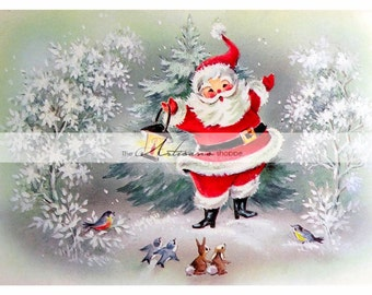 Printable Instant Download - Vintage Christmas Santa with Animals - Paper Crafts Scrapbook Altered Art - Antique Christmas Card Art Image