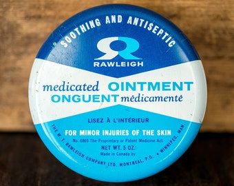 Vintage Medicine Tin - Rawleigh Medicated Ointment Soothing and Antiseptic - Medicated Cream Collectible Vintage Tin - Blue White Round Tin