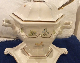 Vintage Soup Tureen with Gold plated Ladle