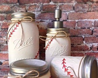 Baseball Mason Jars Jar Bathroom Set Decor