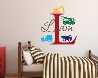 Truck Name Wall Decal - Custom Name Construction Toodler Kids Wall Decal - Boys Room Wall Decal - Construction Decal - Vinyl Wall Decal
