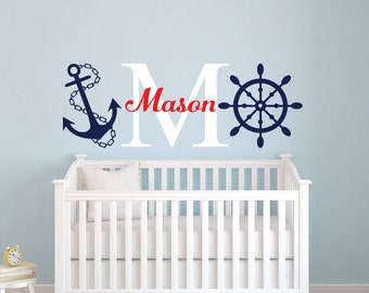 Nautical Name Wall Decal - Little Sailor Room Decor - Custom Name Wall Decal - Baby Nursery Wall Decal - Nautical Decal