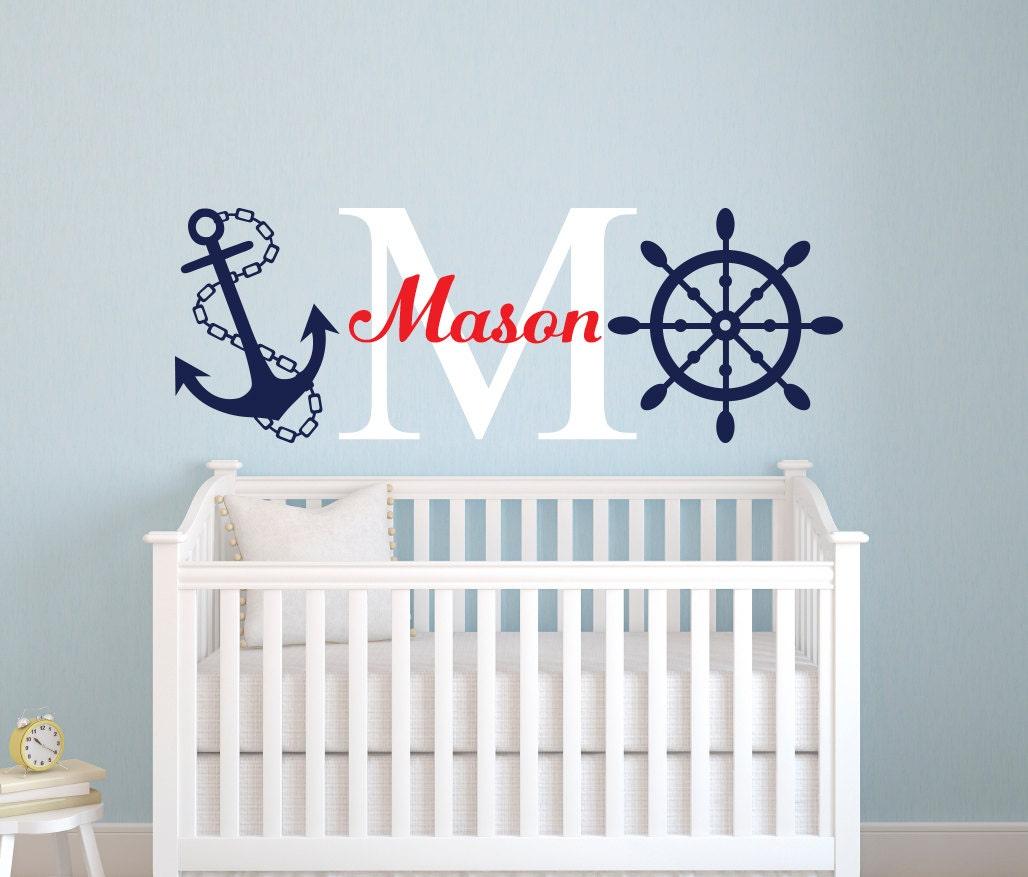 nautical name wall decal little sailor room decor custom. Black Bedroom Furniture Sets. Home Design Ideas