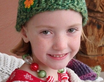 Green Knit Hat with Flower