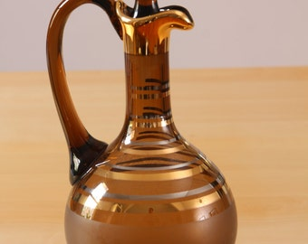 Vintage amber and gold striped decanter