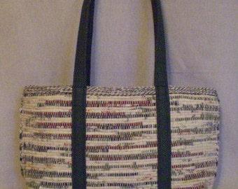 Handwoven Market Bag/ Forest Green Straps