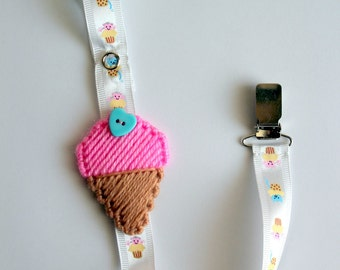 Ice cream baby pacifier clip,pink ice cream pacifier holder,girl pacifier clip,boy pacifier clip,baby accessories