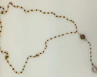 gemstone chain lariat necklace with baroque pearl.
