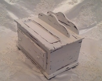 Valet Jewelry Box Shabby Chic Distressed White Wooden Vintage Upcycled