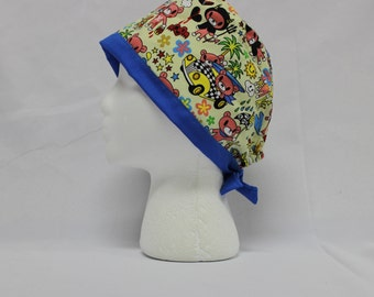 Yellow Kawaii Bear Print Surgical Scrub Cap Chemo Dental Hat